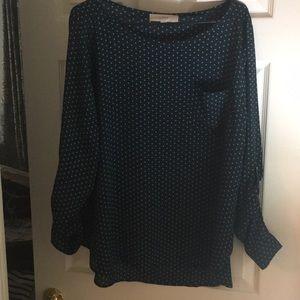 Worn once, Loft navy polka dot blouse size XL